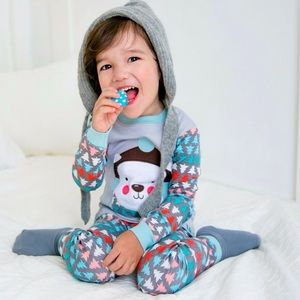 New Vaenait baby pajama set bear furry trees 2 pc